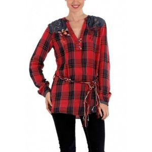 Desigual red plaid and chambray blouse with belt